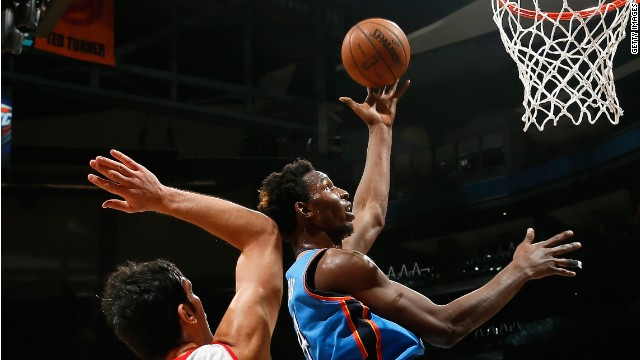 "Tanzanian Hasheem ""The Dream"" Thabeet is a giant, measuring 7ft 3in. He plays with Oklahoma City Thunder."