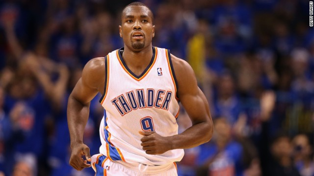 Born in the Republic of Congo, power forward Serge Ibaka played in the Spanish league before joining the Oklahoma City Thunder in 2009. Ibaka won an Olympic silver medal representing Spain in the 2012 Olympics.<!-- --> </br>