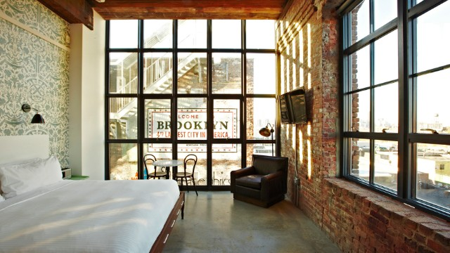 "The Wythe Hotel in Brooklyn is one of Fodor's ""creative conversions"" award winners. The former barrel factory in Brooklyn was converted into a hotel that opened last year. It's become ""a destination its own right,"" last year, says Bowen. (If you need to see Manhattan, there are great views from the hotel bar.)"