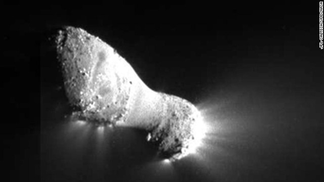 The Deep Impact spacecraft took this photo of Comet Hartley 2 on October 4, 2010, during NASA's EPOXI mission (a combination of two mission names: the Extrasolar Planet Observations and Characterization, and the Deep Impact Extended Investigation).