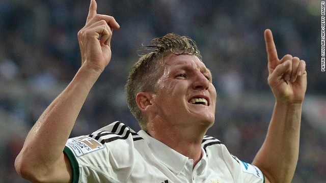 Bastian Schweinsteiger celebrates after scoring Bayern Munich's opening goal against Schalke in Gelsenkirchen on Saturday.