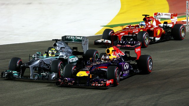 Vettel started from pole position and briefly surrendered the lead to Mercedes' Nico Rosberg at the beginning of the race, but was untroubled after that.