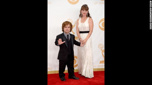 """Game of Thrones"" star Peter Dinklage with his wife, Erica Schmidt. He received a nod as outstanding supporting actor in a drama series."