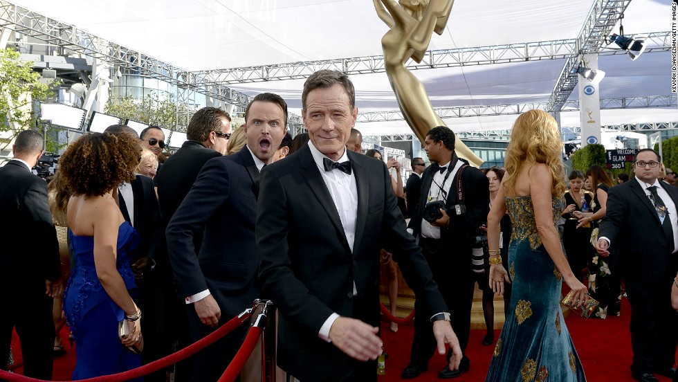 """Breaking Bad"" stars Aaron Paul, left, and Bryan Cranston. AMC's ""Breaking Bad"" took home the Emmys' top honor for outstanding drama series."