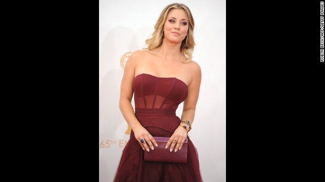"""The Big Bang Theory's"" Kaley Cuoco wears a burgundy Vera Wang."