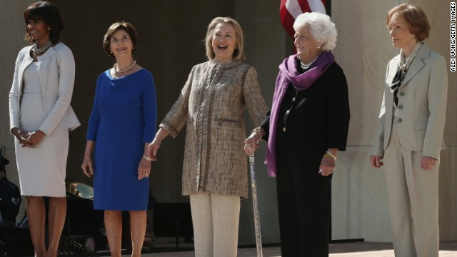 First lady Michelle Obama, from left, and former first ladies Laura Bush, Hillary Clinton, Barbara Bush and Rosalynn Carter attend the opening ceremony of the George W. Bush Presidential Center in Dallas on April 25.