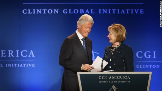 Bill and Hillary Clinton speak to guests at the Clinton Global Initiative on June 14, 2013, in Chicago.
