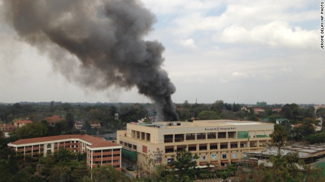 Heavy smoke rises from the Westgate Mall in Nairobi, Kenya, during a siege by Al-Shabaab fighters.