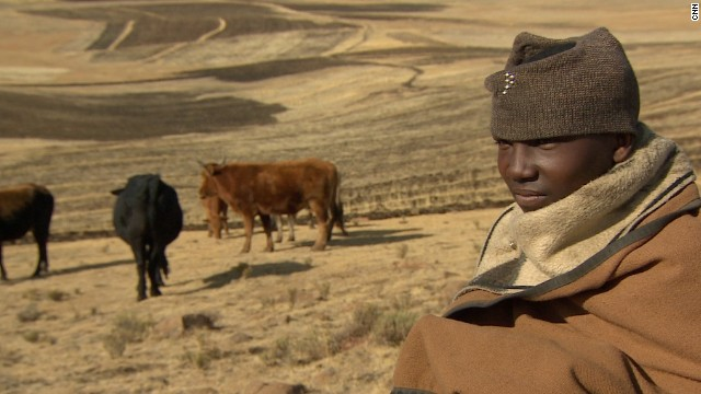 """The most challenging task is going to the field. That's what I find to be most difficult,"" says 17-year-old shepherd Thuso Leeto."
