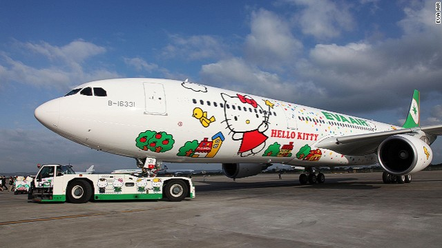 Last week, Taiwan-based EVA Air launched its first long-range jet -- flying between Taipei and Los Angeles -- emblazoned with everyone's favorite mouthless cat (see link lbelow). Not just the fuselage, but everything on the EVA's feline flying machines is Kitty themed, from crew members' uniforms to the coffee cups, head rests, toilet rolls and food.