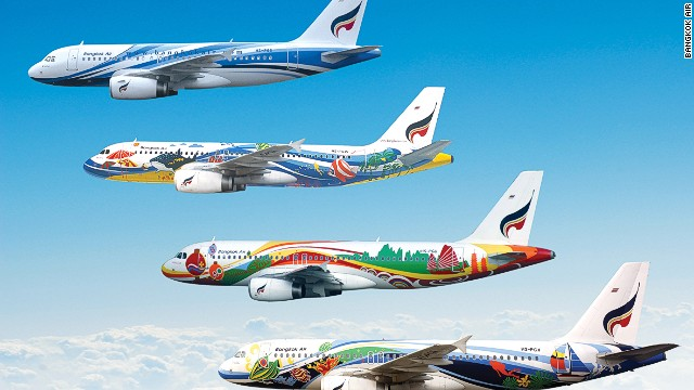 Bangkok Air has adorned its aircraft with everything from flowers and umbrellas to yet more cartoon characters. Some of its latest liveries feature the airline's mascots -- colorful planes with names such as Sky, Sunshine, Rocky and Daisy.