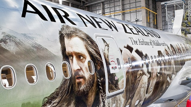 The world's largest plane decal, taking more than 400 hours to complete, was unveiled in 2012. A <a href='http://travel.cnn.com/air-new-zealand-hobbit-safety-video-123456'>Hobbit-themed safety video</a>, featuring characters from Middle Earth, was shown on the Air New Zealand plane, cabin crew even donning pointy ears for the first flight.