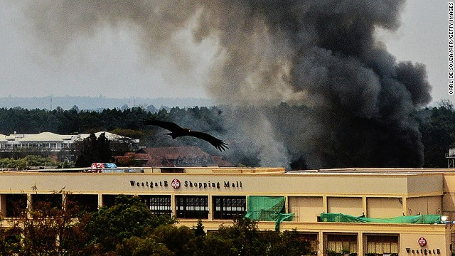Smoke rises from the Westgate mall in Nairobi on September 23, 2013.