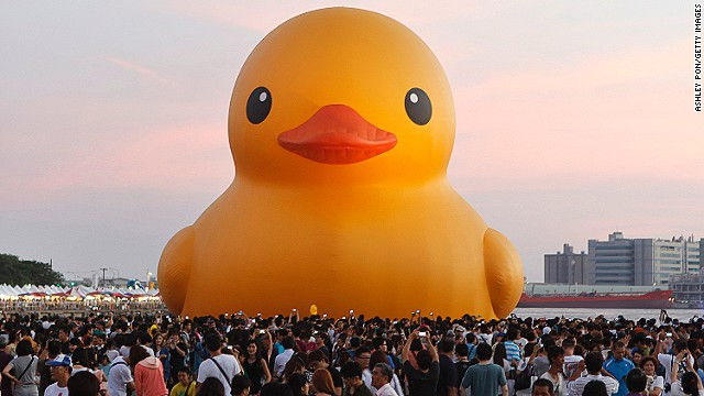 More than a million people around the world have visited this towering photogenic duck. An estimate of <a href='http://edition.cnn.com/2013/09/24/travel/rubber-duck-taiwan/index.html?iref=allsearch'>500,000 spectators</a> came out to see Rubber Duck in Kaohsiung, Taiwan despite the threat of an approaching typhoon.