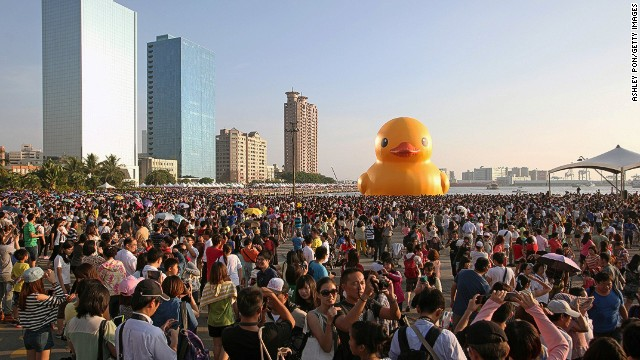 Dutch artist Florentijn Hofman's 18-meter rubber duck is currently floating in the harbor in Kaohsiung City in southern Taiwan. The city's enthusiastic regard for the great bird helped it beat out dozens of other suitors who wanted a visit.