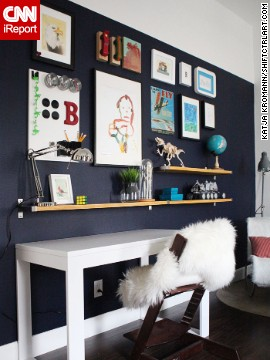 <a href='http://ireport.cnn.com/docs/DOC-1035909'>Katja Kromann</a> created this <a href='http://shiftctrlart.com' target='_blank'>gallery wall with floating bookshelves</a> for her son's room. To find out more about the decorative elements she used, ask in the comments section.