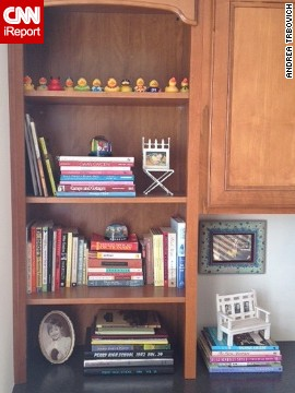 <a href='http://ireport.cnn.com/docs/DOC-1036206'>Andrea Trbovich's</a> bookshelf wasn't necessarily her style, but she said the <a href='http://www.homagestyle.com/' target='_blank'>colors, shapes and textures </a>of her book collection always draws her in. Are you in the same boat? Discuss your bookshelf decorating dilemmas in the comments section below.