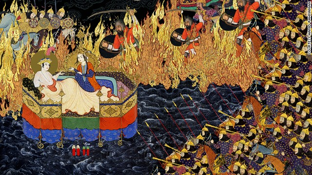 Rahmanian collected over 8,000 Persian miniatures and lithographs, which he then scanned, retouched, and used to create a multi-layered collage. Each page of his 500-page remastering is comprised of hundreds of individual elements.