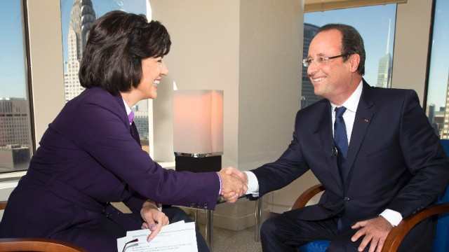 Syria deal must be backed by force, Hollande tells Amanpour