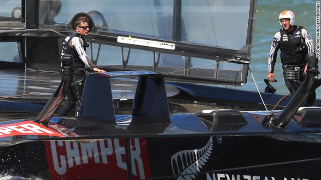 New Zealand skipper Dean Barker, left, has seen his team's lead at the America's Cup dissipate.