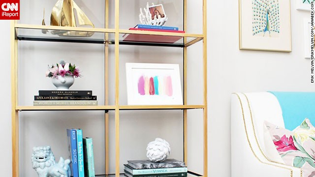<a href='http://ireport.cnn.com/docs/DOC-1036767'>Jana Bek</a> loves the brass boats on the top shelf of this bookcase. Are you also a sucker for objects that shimmer? Ask Bek where she finds <a href='http://janabek.com/' target='_blank'>affordable and unusual decor</a> in the comment section.