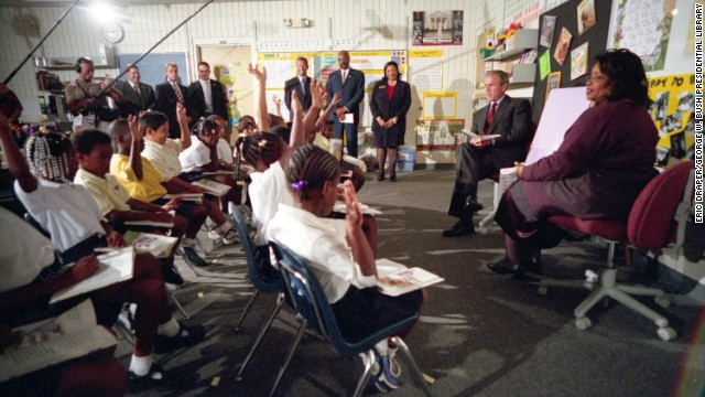 "President George W. Bush participates in a reading of ""The Pet Goat"" the morning of September 11, 2001, at Emma E. Booker Elementary School in Sarasota, Florida."