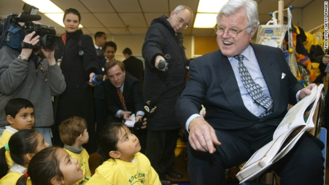 Sen. Ted Kennedy, D-Massachusetts, reads a story about the Itsy Bitsy Spider while visiting the Stockton Child Parent Center in Chicago in March 2002.