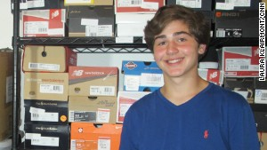 Nicholas Lowinger has a garage full of donated shoes at his family\'s home in Rhode Island.