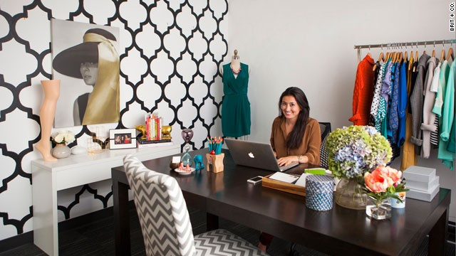 "Stitch Fix CEO Katrina Lake's office is called the ""classic"" room. The company's styling team brought this room to life for less than $1,000."