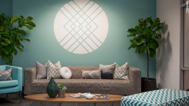 The lobby of Stitch Fix was designed to reflect the online styling service's casual and chic esthetic. The logo on the wall is a DIY project created with a projector and painters tape.