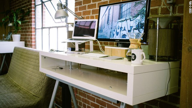 Nik Bauman, CEO of coffee startup Tonx, has a <a href='http://www.brit.co/standing-desks' target='_blank'>standing desk</a> in his office that keeps him on his feet.
