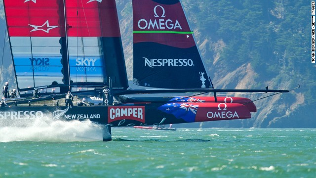 Team New Zealand, pictured here, competed against Oracle Team USA in hi-tech 72-foot catamarans off the coast of San Francisco in September 2013, reaching speeds of 50 mph -- faster than the wind propelling them.