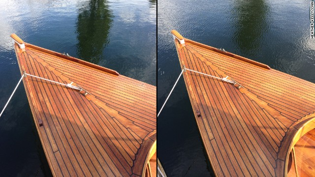 It's hard to tell much of a difference between these two shots of a boat, although the one on the right (with the 5S) has slightly richer tones and contrast.