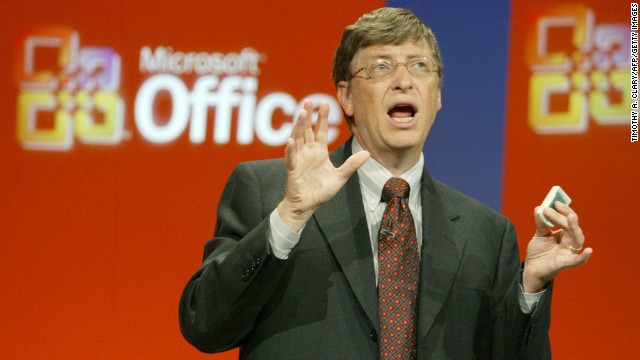 Gates delivers a speech to unveil the new Microsoft Office system during a presentation in New York in October 2003. He called that version of Office one of the most important updates in the company's history.