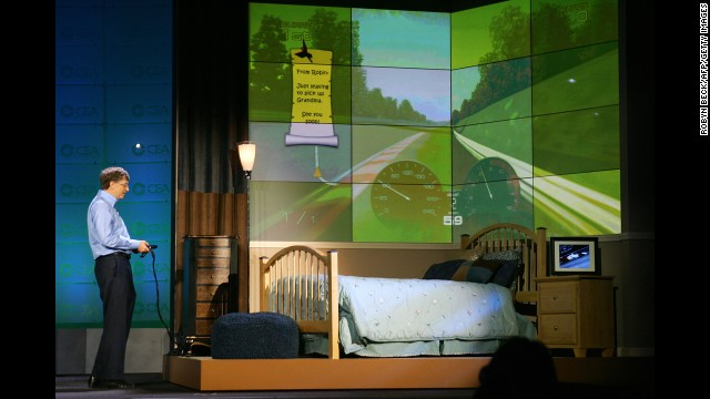 Microsoft chairman and CEO Bill Gates shows his vision of the interactive bedroom of the future, during the keynote address at the Consumer Electronics Show in 2007.