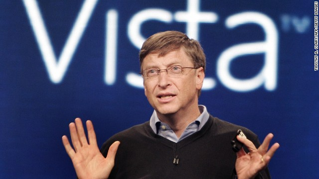 Gates speaks during the press conference at the Microsoft Windows Vista operating system launch in 2007.