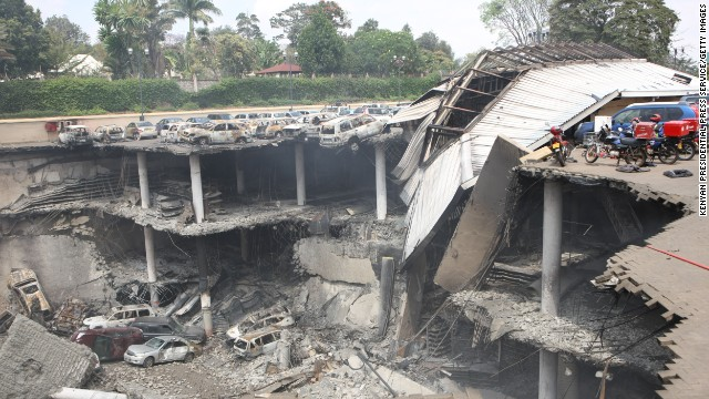 Kenyan mall\'s destroyed parking deck