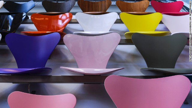 Colored seats from the esteemed late Danish designer Arne Jacobsen display the Danish genius for stylish and functional homeware. There's nowhere better than Copenhagen to sample it in all its manifestations -- from cutlery to crystal and even desirable washbowls.