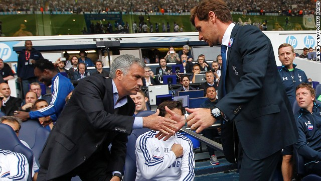 Chelsea manager Jose Mourinho (left) and Spurs boss Andre Villas Boas shake hands at White Hart Lane before kick-off. Villas-Boas was part of Mourinho's coaching set up for seven years before going it alone in 2009. The split strained relations between the two men who are no longer on speaking terms. Saturday's match was the first time the two had met as managers.