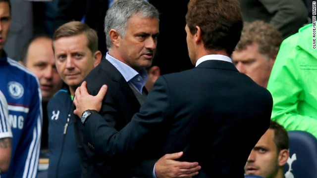 Mourinho and Villas-Boas embrace after the match at White Hart Lane.
