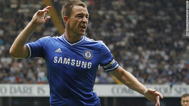 John Terry celebrates scoring Chelsea's equalizer against Tottenham Hotspur at White Hart Lane.