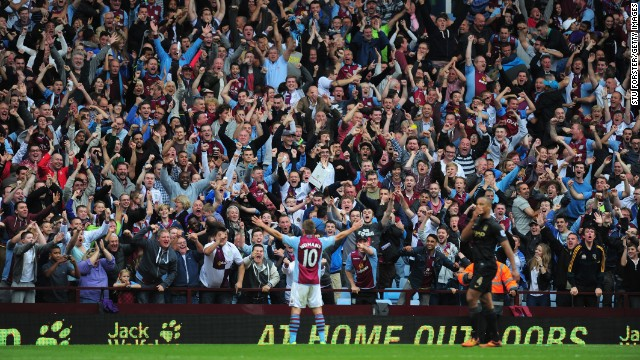 Aston Villa's Andreas Weimann laps up the cheers of home supporters at Villa Park. The Austrian forward scored the winner in a memorable 3-2 victory over Manchester City.
