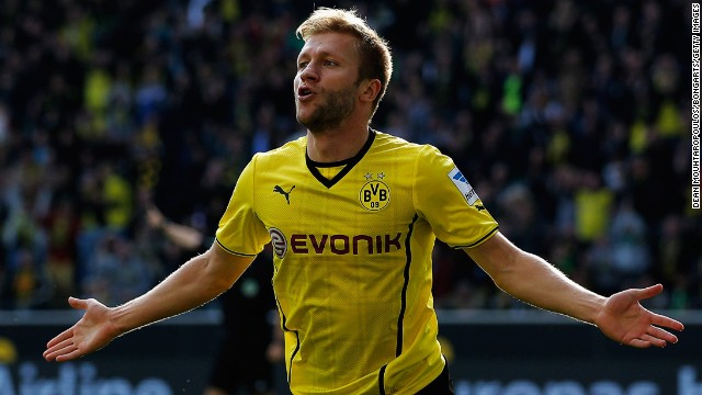 Jakub Blaszczykowski celebrates scoring Borussia Dortmund's fifth goal against Freiburg on Saturday.