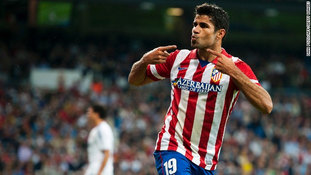 Atletico Madrid striker Diego Costa celebrates after scoring the winning goal against Real Madrid at the Bernabeu on Saturday.