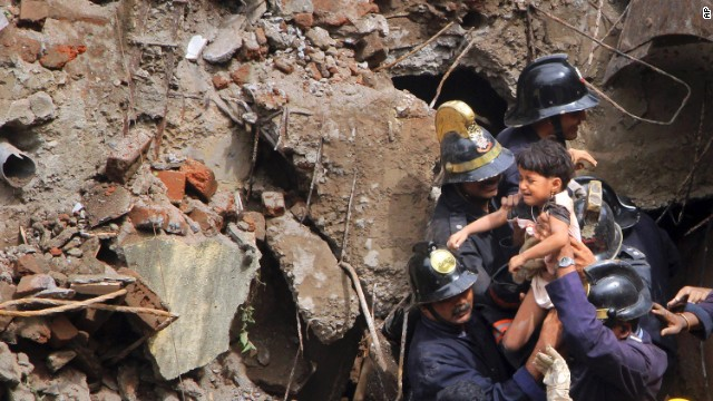 A child is pulled from the rubble on September 27.