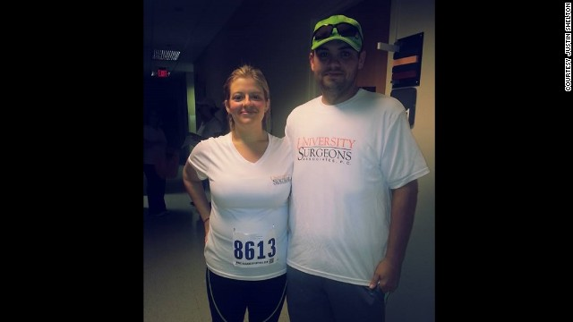 "In August, the couple completed their first 5K race. They reached their goal of completing the race in under an hour. ""One and a half years ago, if you told me that I should walk even a mile, I would've laughed in your face,"" Lauren said. ""I got tired from just walking around the store and had to lie down the rest of the evening."""