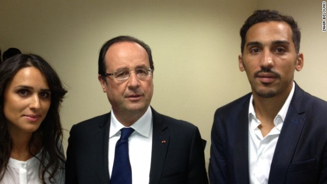 Belounis (right) held talks with French President Francois Hollande during his struggle to gain an exit permit to leave Qatar.