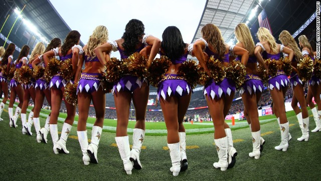 The Minnesota Vikings cheerleading squad, MVC for short, take to the field at London's Wembley Stadium. The Vikings played the Pittsburgh Steelers as part of the NFL's continuing International Series.