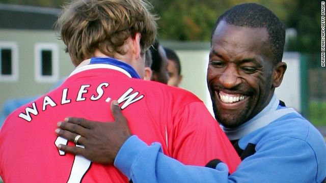 Although he supports Birmingham's Aston Villa, Prince William trained with London club Charlton in 2005. He got a hug from Chris Powell, a former member of England's national team and a Charlton legend.