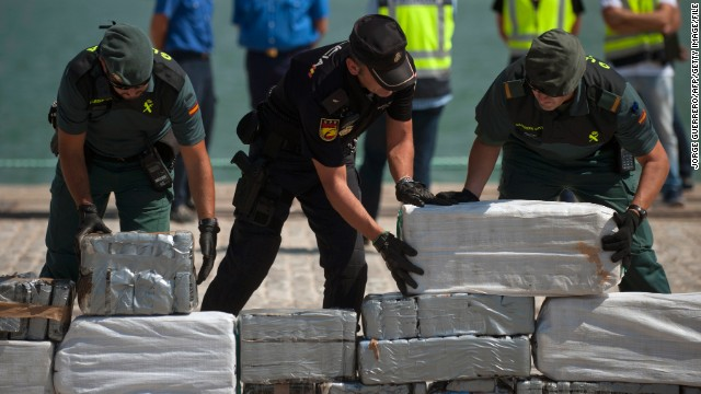Spanish authorities netted nearly a ton of cocaine, slightly heavier than another large bust in September 2013 (pictured above).